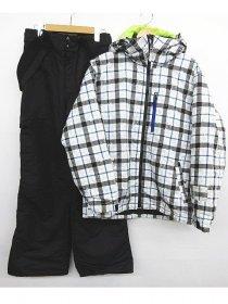IGNIO メンズ スキーウェア チェック ジャケット サスペンダー ブラック パンツ上下Mサイズ