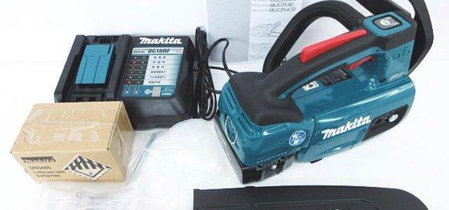 未使用品 makita マキタ 充電式 チェンソー MUC254DRGX バッテリー2個 充電器 セット買取ました。リサイクルショップ リバース 三原店 尾道店 東広島店 電動工具