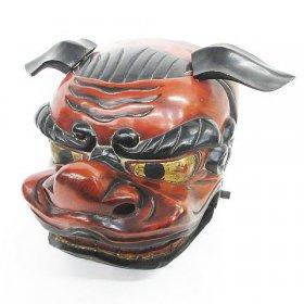 獅子舞 木製 獅子頭 時代 木彫り 美術 縁起物 置物 アンティーク 買取りました