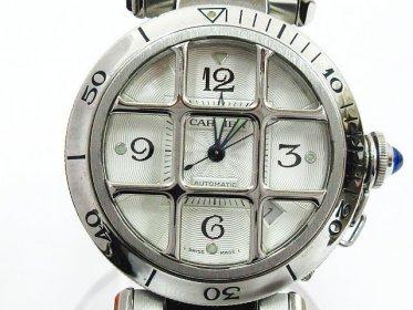 Cartier カルティエ パシャ グリッド 38mm 2379 SS 裏スケ デイト 自動巻き 回転ベゼル メンズ シルバー 白文字盤 稼動品 買い取りました!