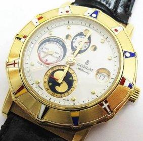 CORUM コルム K18 18金 金無垢 アルドミラルズカップ クロノグラフ 277 830 56 腕時計 稼働品