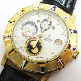 CORUM コルム K18 18金 金無垢 約117g 腕時計 アドミラルズカップ クロノグラフ 277 830 56 メンズ ゴールド 革ベルト 稼働品