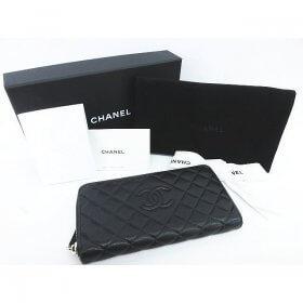 CHANEL シャネル 長財布 キャビアスキン マトラッセ ココマーク ダイヤモンドステッチ ラウンドファスナー A80695 黒 箱 カード付き