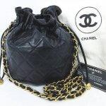 CHANEL シャネル ラムスキン マトラッセ 巾着型 チェーン ショルダー バッグ 鞄 ブラック